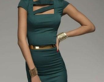 Dark Green Dress Woman ,Classic Pencil Dress Fitted.