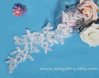 DIY Headwear,Bridal Lace Applique,Bridal Headpiece,Flower Applique,Embroidery Lace Applique,Wedding Lace Motif(AL015)