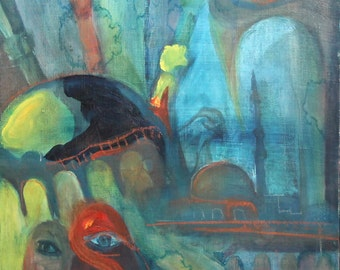 Bulgarian art contemporary surreal abstract oil painting signed