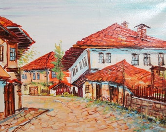 Vintage Bulgarian art impressionist oil painting country scene