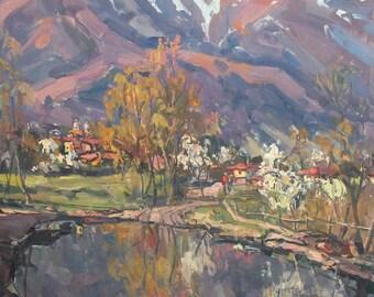 1988 Bulgarian art oil painting landscape signed