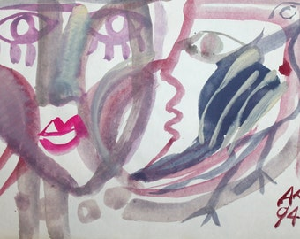 1994 Abstract figures faces watercolor drawing