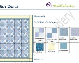 Baby Boy Quilt pattern.   (Flying Four patch)  Instant Download