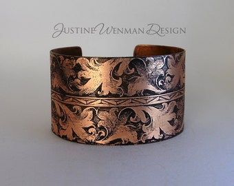 Copper Cuff Etched w/ Dramatic Leafy Scroll Motif, Botanical, Roman, Intertwining Foliage, Ancient-looking, Renaissance, Woman's Bracelet