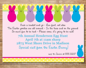 Easter Bunny Invitation, Bunny Invite, Printable, Personalized, Easter Hunt, DIY,