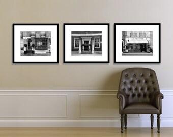 SALE, London Photography, London Print Set, Black and White, Fine Art, London Shops, Bathroom Decor, Bedroom Decor, Office Decor, Wall Art