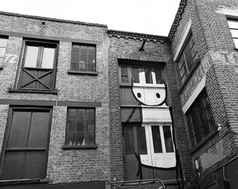 Stik, Street Art, Graffiti, London Photography, black and white photo, Fine Art Print, Whimsical, brown, Wall Art, Urban Photo, Office Decor