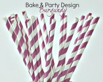 Paper Straws Vintage Burgundy Stripes, 25 Straws, Party Supplies  Baby Shower Birthday Party Wedding Bridal Shower