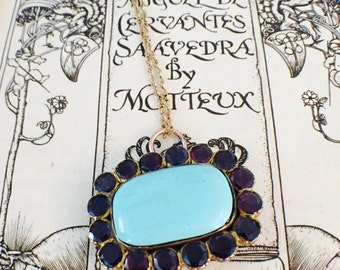 Antique Georgian 1821 Foil Backed Flat-cut Garnet & Turquoise Gold Cased Pendant Brooch Necklace