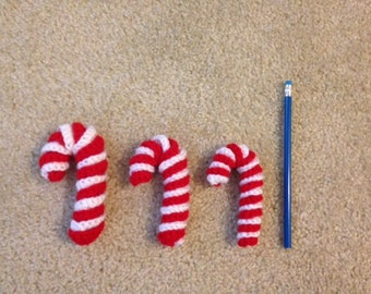 Crocheted Candy Cane Ornament