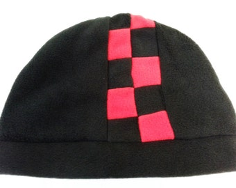 Mens Red and Black Checkered Fleece Hat