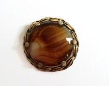 Vintage Brown Glass Brooch, Scottish Glass Agate Pin, 1960 Jewelry, Round Sash Kilt Pin, Celtic jewellery,