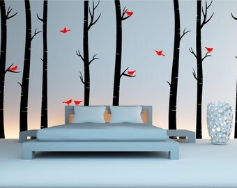 8 Huge Birch Trees With Birds Forest Wall Art Sticker Decal Transfer Vinyl Mural