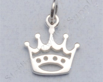 Sterling Silver Crown Charm, 10.6 x 11.8 mm, Princess Charm, Queen Charm, USA Seller, Fast Shipping (S125)