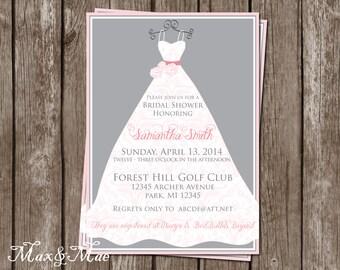 Wedding Dress Invitation, Shower for the Bride, Wedding Gown Invite, Bridal Shower, Wedding Shower, Invitation, Printable, Digital