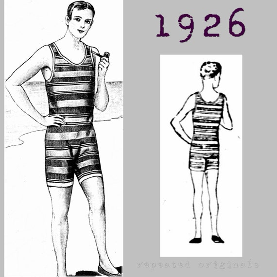 1920s Swimsuits- Women & Mens- History, Sew and Shop 1926 Swimming Costume Bathers Neck to Knee Cossie - Vintage Reproduction PDF Pattern - 1920s -  made from original 1926 pattern Gentlemans  AT vintagedancer.com