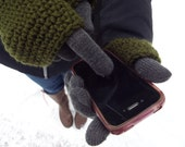Touch Screen Gloves, Handmade Double Layer Gloves, two-layer or fingerless, Touchscreen Smartphone Mobile Accessory, Gifts for Teens For Her