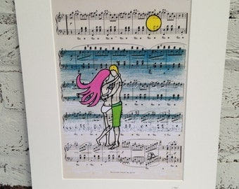 Valentine's Signed mounted A4 print 'Love at the beach' surf art illustration