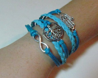 Tree of  Life Leather Bracelet  Vintage  charms with  Hamsa and infinity , Judaica jewelry