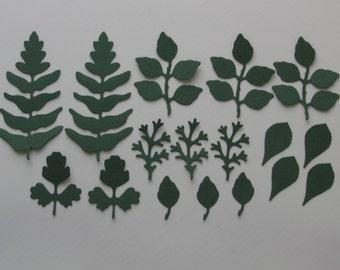 Green leaf die cuts Spring Leaf die cuts Summer leaves Leaf die cuts Die cut leaves Scrapbooking Scrapbook supplies Card making supplies