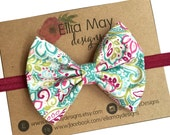 Baby/Girl Bright Floral Bow Headband or Hair Clip