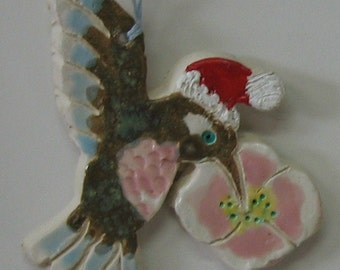 Hummingbird Clay Christmas Ornament, Handmade by Ceramic Artist, Karlene Voepel.  Sold individually.