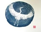 Heron woodblock print A3 blue, woodcut, Japanese, hand pulled print, water, lake, ripples, nature, printmaking, wall art