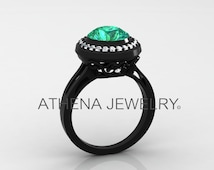 Gorgeous, Unique and Classic Engagement, Wedding, Anniversary 14k Black Gold Ring with Diamonds and an Emerald Center Stone Item # Love-0407
