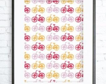 Instant Download Printable, Pink Bicycle, Star, Print Art,  Modern Art Print, digital art, Print, bicycle art,  Pink bicycle print