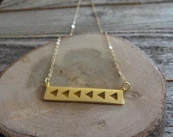 Minimalist Gold Triangle Bar Necklace