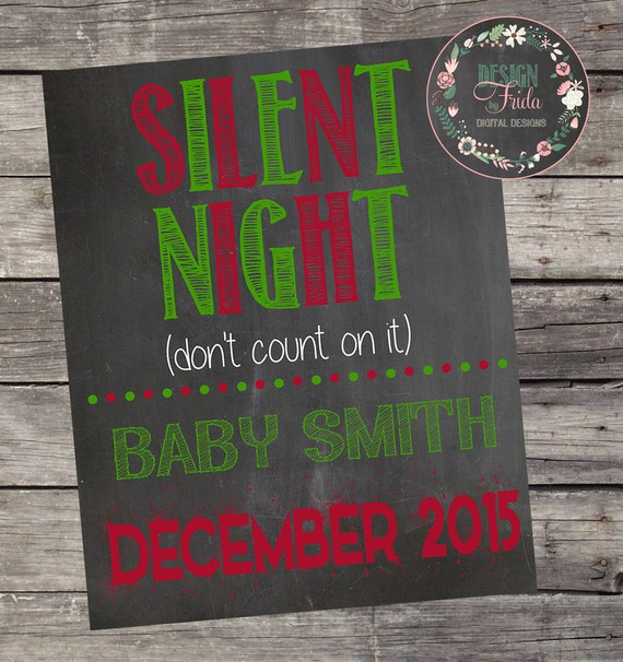 Cute BABY PREGNANCY ANNOUNCEMENT Silent Night Xmas Christmas – Christmas Baby Pregnancy Announcement