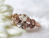 Fancy Wedding Diamond Ring 7x9mm Oval Cut 1.57ct  Morganite Engagement Ring Solid 14K Rose Gold  Gems Ring Wedding Ring Anniversary Ring