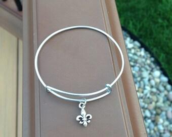 Fleur de Lis Charm Bangle Bracelet