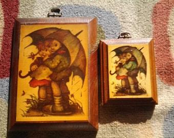 vintage hummel plaque lot , 2, wood, sm. hummel