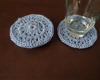 Crochet Cotton Coasters Light Blue Set of 4