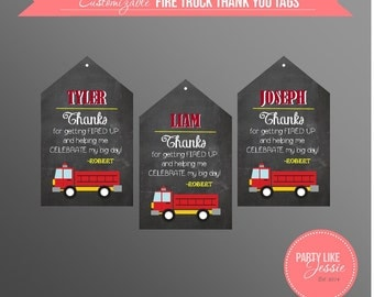 PRINTABLE Fire Truck Thank You Tags (Customizable)
