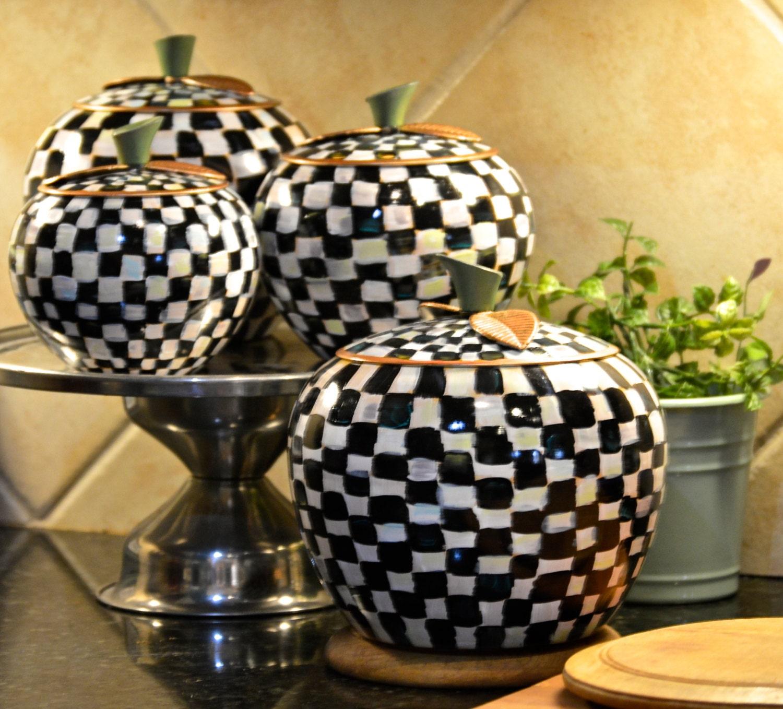 Mackenzie childs inspired black white checkered gold accents for Black kitchen set