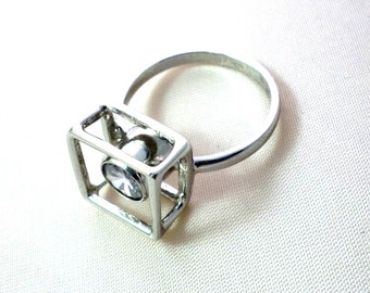Squares Ring ,cube ring , sterling silver ring with stone
