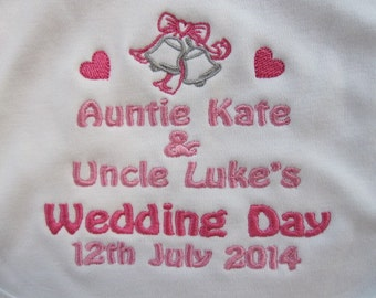 Personalised Baby Bib - Wedding - Embroidered - Auntie & Uncle - Bells, Hearts - Your Wedding Colours