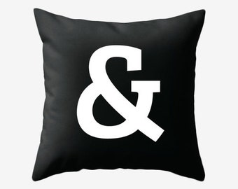 Ampersand pillow cover. Black pillow ampersand cushion typography cushion black and white pillow black and white cushion black cushion