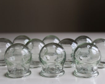 Chinese Medical Cupping Jars, Soviet Vintage Fire Glass Cupping Jar Set of 15, Old Russian Cupping Jars