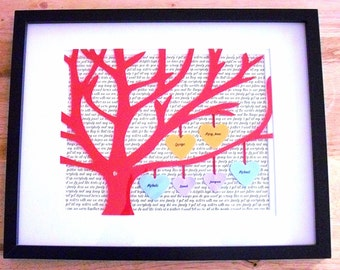 Personalized 11X14 Framed 3D Paper Family Tree Gift, Anniversary, Wedding Song Lyrics