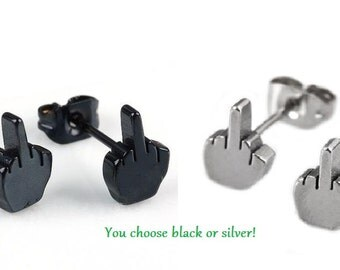 Flip off metal Middle Finger Post Earrings - You choose silver or black