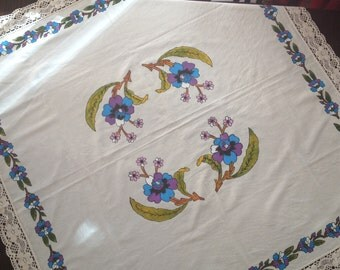 Hand painted square tablecloth