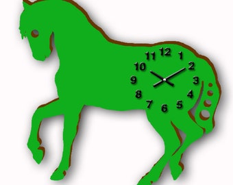 Green Horse Wall Clock,Wooden Kid's Clock,Ready To Hang,Ranch Animal Clock,Toddler Room Decor,Unique Birthday Gift,Young Family Home,Den
