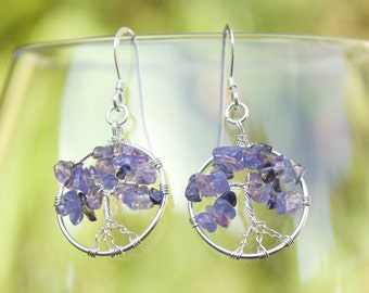 Tanzanite, Iolite & Amethyst Sterling Silver Tree of Life Wire Wrapped Earrings