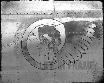 Indian airplane,American Indian,Vintage airplane,Old Airplane,Photography,Black and White Photography,Vintage