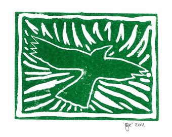 "Crow Linocut Print on 5""x7"" Blank Card with Envelope/Green"