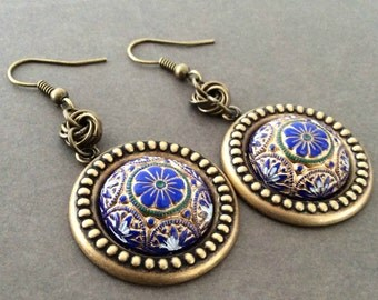Vintage Earrings, Art Deco Earrings, Victorian Earrings, Gold Earrings, Black Earrings, Green Earrings, Blue Earrings, Hand Painted Earrings