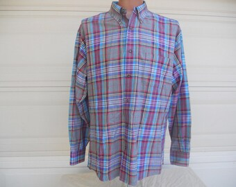 SALE Plaid Dress Shirt Multi Color Plaid Button Down Shirt Bills Khakis . XL
